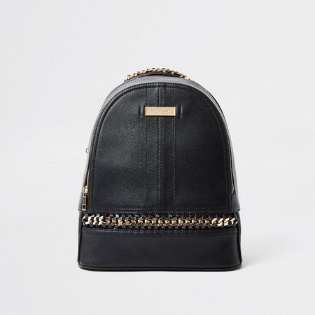 Black oversized chain backpack | River Island