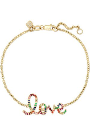 Sydney Evan | Medium Love 14-karat gold multi-stone bracelet | NET-A-PORTER.COM