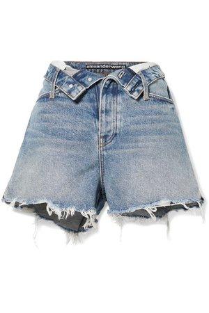 Alexander Wang   Bite Flip fold-over frayed denim shorts   NET-A-PORTER.COM