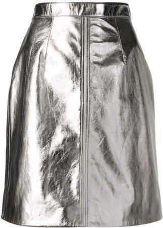 Alexa Chung metallic mini skirt