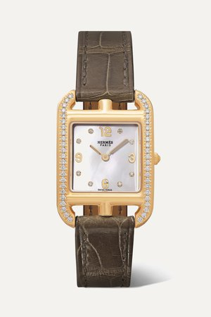 Gold Cape Cod 23mm small 18-karat gold, alligator, mother-of-pearl and diamond watch | Hermès Timepieces | NET-A-PORTER