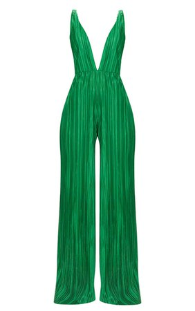 Green Plisse Plunge Strappy Jumpsuit | PrettyLittleThing USA