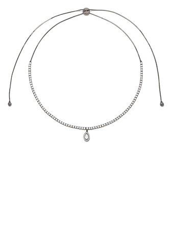 AS29 18k Black Gold Pear Diamond Indiana Choker Necklace - Farfetch