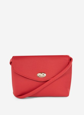 Red Twist Lock Cross Body Bag | Dorothy Perkins