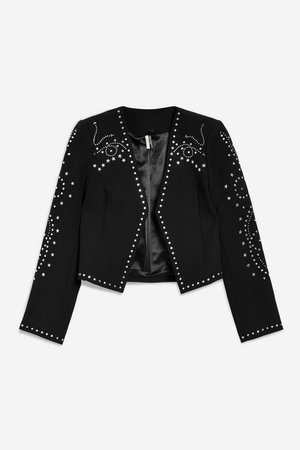 Cropped Studded Jacket - Clothing- Topshop USA