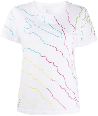 multicoloured print T-shirt