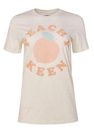 Georgie Peach Slogan T shirt   Peachy Keen Tee in 2019   Just Peachy   Joanie clothing, Peach clothes, Shirts