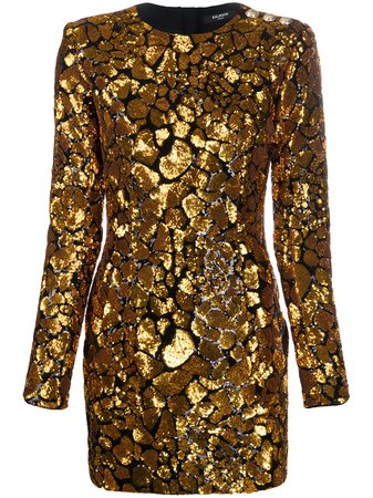 Shop Balmain sequin embellished mini dress with Express Delivery - FARFETCH