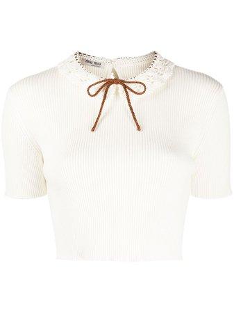 Miu Miu Crochet Collar Cropped Top - Farfetch