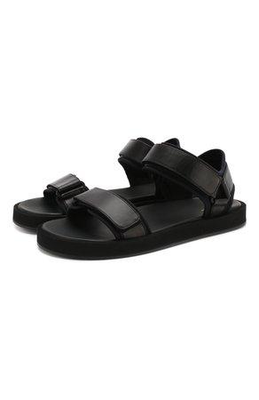 Женские черные кожаные сандалии hook THE ROW — купить за 74650 руб. в интернет-магазине ЦУМ, арт. F1160-N60