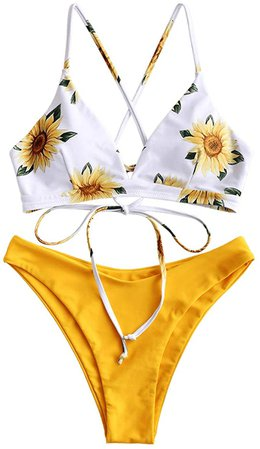 Amazon.com: ZAFUL Women Braided Straps Lace Up Bikini Set Bralette Swimsuit Flower Bathing Suit (Sunflower Yellow, S): Clothing