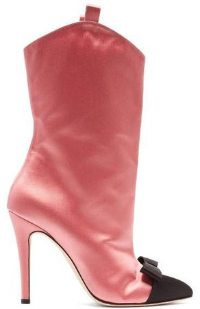 Alessandra rich Alessandra Rich - Bow Front Point Toe Satin Ankle Boots - Womens - Pink Multi