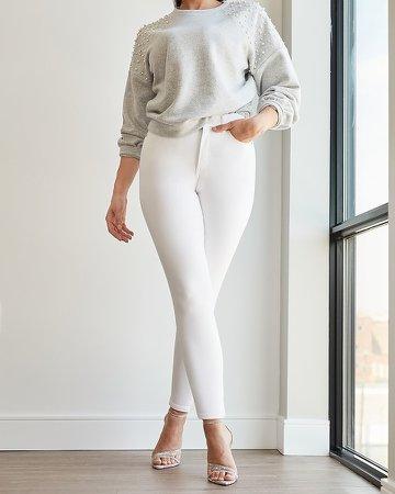 High Waisted White Curvy Skinny Jeans
