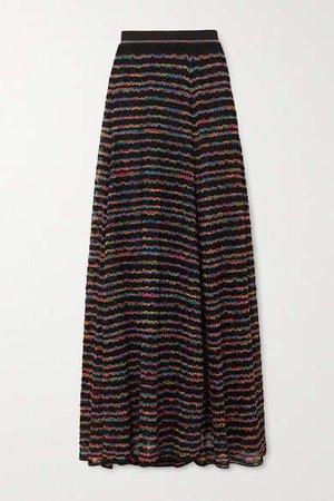 Metallic Striped Crochet-knit Maxi Skirt - Black