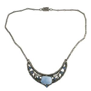 1930s silver metal pendant necklace with blue satin glass and crystals – Earthly Adornments