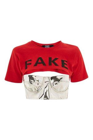 Jaded London 'Fake' Slogan Crop T-Shirt Bralet