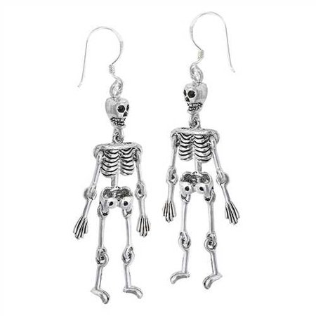 The Dangling Dead Sterling Skeleton earrings // goodgoth