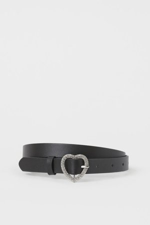 Rhinestone-buckle Belt - Black