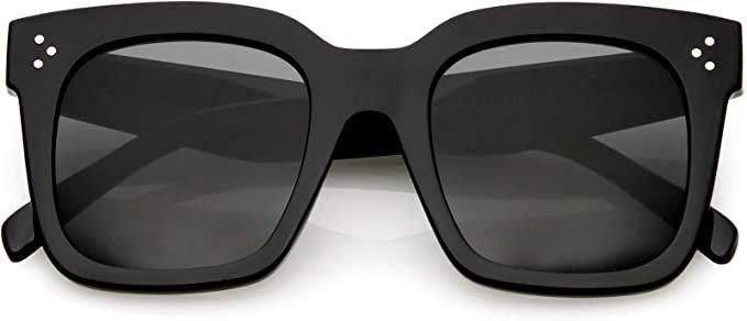 Amazon.com: zeroUV - Bold Flat Lens Oversized Square Frame Horn Rimmed Sunglasses 50mm (Shiny Black/Smoke): Clothing