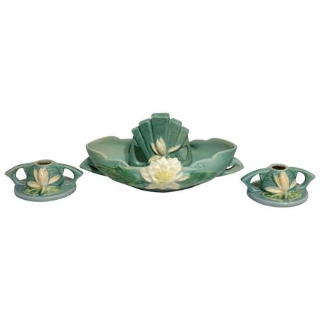 WATER LILY Console Set in Ceil Blue - 4-pc set: Console with Flower : DejaVu a Deux | Ruby Lane