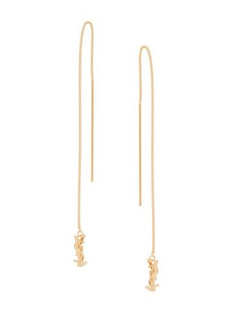Shop gold Saint Laurent monogram drop earrings with Express Delivery - Farfetch