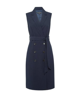 Navy Sleeveless Trench Dress | Dorothy Perkins