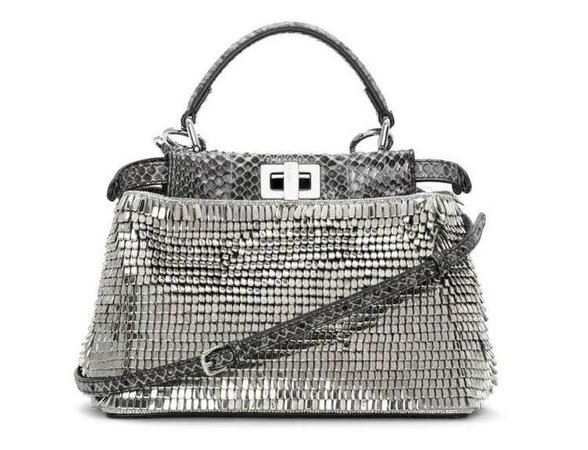 Fendi Beaded Snakeskin Mini Peekaboo Bag