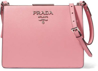 Frame Textured-leather Shoulder Bag - Baby pink