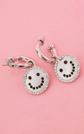 Silver Diamante Smile Hoop Earrings | PrettyLittleThing USA