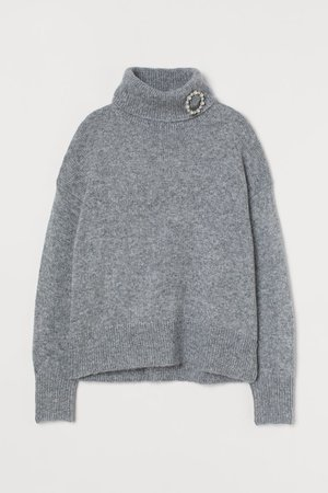 Polo-neck jumper with a brooch - Grey marl - Ladies   H&M