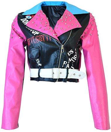 HOMELEX Women's Faux Leather Motorcycle Jacket PU Slim Pink Studded Short Biker Coat at Amazon Women's Coats Shop