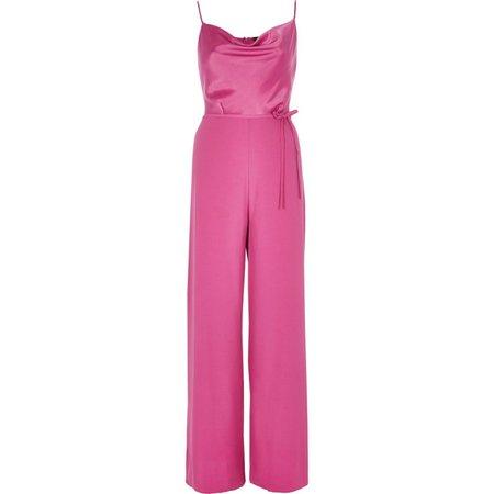 Dark pink cowl neck cami strap jumpsuit - Jumpsuits - Playsuits & Jumpsuits - women