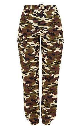 Khaki Camo Print Cargo Pants. Pants | PrettyLittleThing USA