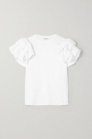 Ruffled Poplin-trimmed Cotton-jersey T-shirt - White