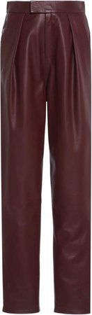 Zeynep Arcay Pleated Leather Straight-Leg Pants