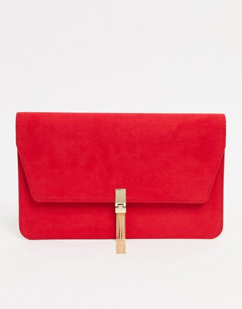 ASOS DESIGN clutch with tab & tassel in red | ASOS