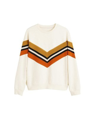 MANGO Cotton contrast panels sweatshirt