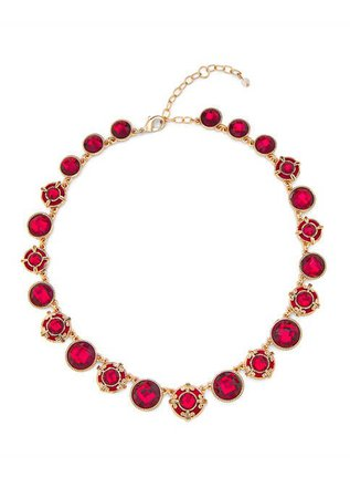 Napier Gold Tone Red Velvet Collar Necklace