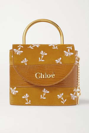 Brown Aby Lock small lizard-effect leather-trimmed embroidered suede shoulder bag | Chloé | NET-A-PORTER