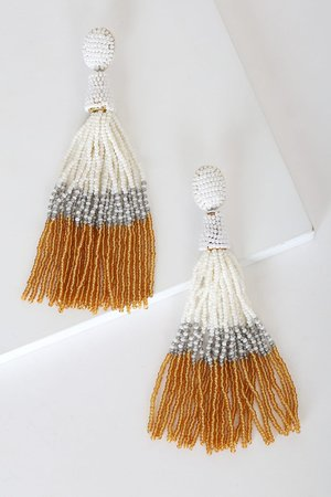 Chic Gold Beaded Earrings - Tassel Earrings - Statement Earrings