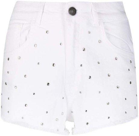 Stud-Embellished Denim Shorts