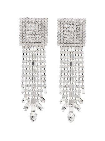 Metallic Alessandra Rich Square Cascade Crystal Earrings   Farfetch.com