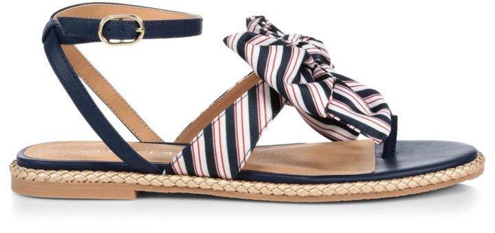 Heidi Flat Stripe Bow Thong Sandals