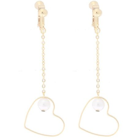 Gold Dangle Heart Earrings With Pearls