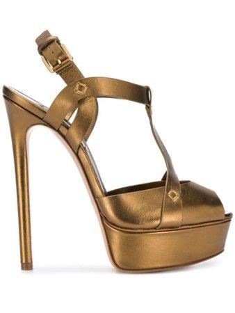 Shop gold Casadei platform stiletto sandals with Express Delivery - Farfetch