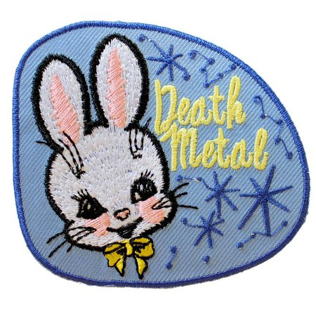 Death Metal Bunny Patch Made with Vegan Iron-On Adhesive | Etsy