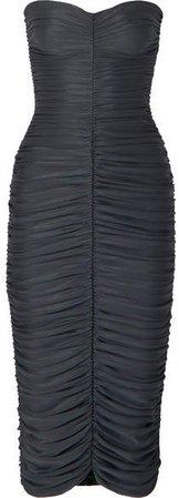 Slinky Ruched Stretch-jersey Midi Dress - Gray
