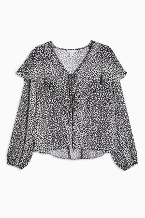 Black and White Animal Frill Print Blouse | Topshop