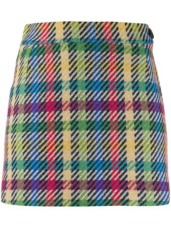 Attico Plaid colour-block Mini Skirt - Farfetch