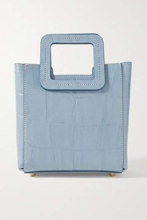 Shirley Mini Croc-effect Leather Tote - Light blue